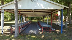Covered pavilion and picnic tables